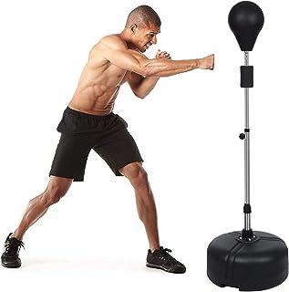 ANCHEER 带支架的冲压包 适合成人和青少年的反光拳击袋 可调节高度 独立式速度袋 家庭训练的拳击设备