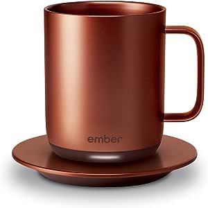 Ember 温控智能马克杯,10盎司(约283.5毫升),1小时电池寿命,铜色 - 应用程序控制加热咖啡杯