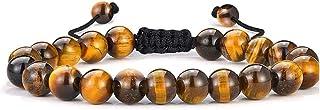 DHYANARSH 8 毫米认证天然虎眼石珠手链女士/男士 AAA 级珠子,男女通用,可调节