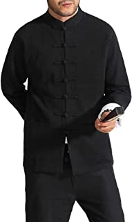 Bitablue 男式中国夹克,带可拆卸白色内领和袖口