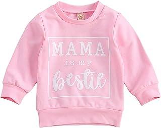 幼儿婴儿女孩男孩字母印花毛衣长袖套头运动衫上衣秋冬户外服装(粉红色,12-18 个月)