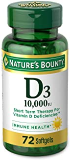 Natures Bounty 自然之宝 维生素D3软胶囊,10000 IU,72粒