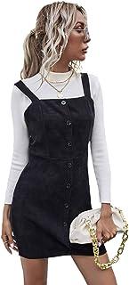 Floerns 女式灯芯绒系扣领领袖全身连衣裙带口袋 深黑色 L 码