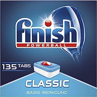 Finish Classic 洗碗机用餐具洗涤块 不含磷酸盐 带有Powerball清洁球,用于餐具的基本清洁,经济装/135块