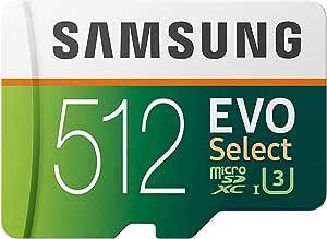 SAMSUNG EVO Select 512GB microSDXC UHS-I U3 100MB/s 全高清和 4K UHD 存储卡带适配器 (MB-ME512HA)