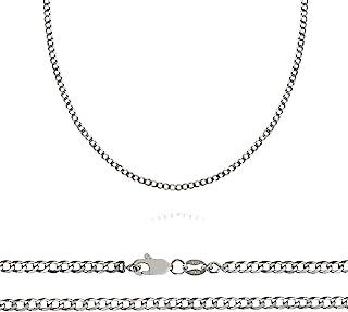Florence Jewelers 925 纯银 男式意大利 2.5 毫米钻石切割锁链,尺寸 40.64 厘米 - 76.20 厘米 - 意大利制造