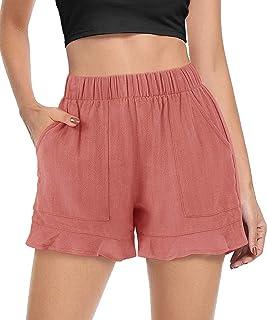 FASKUNOIE 女式休闲短裤褶边下摆舒适弹性沙滩短裤带口袋
