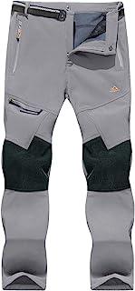 EKLENTSON 男式冬季羊毛内衬裤加固膝盖软壳裤保暖徒步裤带 4 个拉链口袋