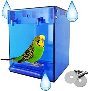 chenming 鸟浴笼,鹦鹉鸟沐浴配件,无泄漏设计悬挂浴缸管淋浴盒碗笼配件适用于宠物鸟 Canary Lovebirds Budgies (12.4 x 12.7 x 16.3 厘米)蓝色)
