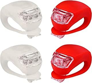 IntTool 自行车踏板车 前后推车 硅胶灯 防水多功能灯 4 件套 白色和红色
