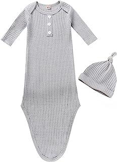 婴儿棉打结睡袍中性款男孩女孩睡衣带连指袖口和配套帽子婴儿回家服装