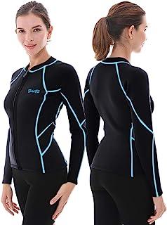 Goldfin 女式潜水服上衣,2 毫米氯丁橡胶潜水服夹克长袖前拉链潜水服衬衫,潜水冲浪皮划艇