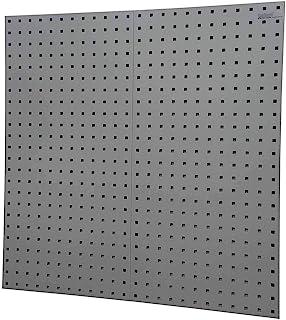 Triton Products (LB18-GKit) LocBoard (2) 45.72 cm 宽 x 96.04 cm 高 x 22.86 cm 深灰色钢方孔钉板,带 30 个。 LocHook 分类和悬挂箱系统,灰色,2 件装