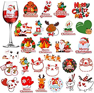 Konsait 圣诞装饰窗户吸附酒玻璃饮料标记 48 张可移除贴纸,可重复使用,可替代葡萄酒饰品