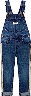 OshKosh B'Gosh 女童可调节金色闪光侧条纹牛仔背带裤,牛仔金色 4 码