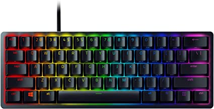 Razer Huntsman Mini 60% 游戏键盘:有史以来*快的键盘开关 - 点击光学开关 - Chroma RGB 照明 - PBT 键帽 - 板载内存 - 经典黑色