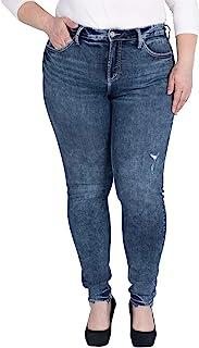 Silver Jeans Co. 女式加大码修身曲线修身高腰牛仔裤