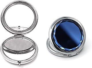 GRISKHO 旅行化妆紧凑镜子 - 小型便携式可爱口袋镜带放大钱包手持梳妆台折叠镜双面轻便,适合手提包和旅行(深蓝色)
