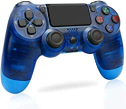 PS4 无线控制器 - 兼容 PS3/Pro/Slim,Playstation 4 游戏控制器,内置扬声器和立体声耳机多点触控垫,蓝色透明
