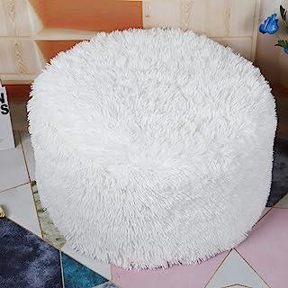 未填充的Ottoman Pouf 盖子,小人造毛皮脚凳,50.8 x 30.4 厘米毛绒椅,圆形奥斯曼座椅,地板豆袋椅,脚托带客厅,卧室,办公室白色