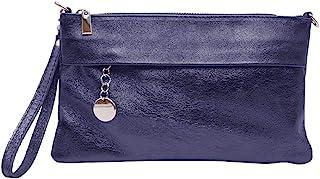 JAENIS NICHOLE – 女式手提包、斜挎包,适合女士,晚宴钱包和手提包,链带真皮意大利皮革 黑色 (H x L x D): 15 cm x 23 cm x 6 cm