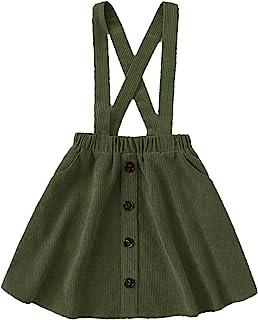 ROMWE 女童可爱灯芯绒纽扣前交叉后背弹性腰身纯色连衣裙