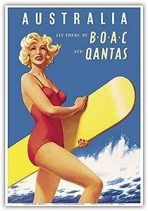 """太平洋岛屿艺术澳大利亚 - Fly There by BOAC(英国海外航空公司)和Qantas - 复古航空公司旅行海报 c.1950 年代 - 艺术大师印刷 13"""" x 19"""" PRTC4688"""