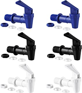 Ruisita 6 件装替换冷却龙头可重复使用尖头替换冷却龙头水罐内螺纹塑料插头,黑色,蓝色,白色
