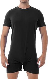 Lejafay 男式成人短袖纽扣裆衬衫连体紧身内衣连体裤