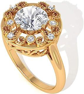 1.42 克拉 IDCL 认证莫桑石单钻订婚戒指,艺术装饰金串珠花婚礼新娘戒指,复古雕刻定情戒指,14K 黄金,尺码:美码 5.0