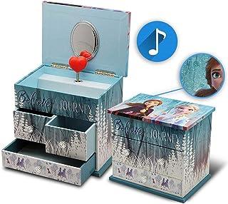 Disney La Reine des Eisigins 音乐首饰盒,带3个抽屉,2个装饰收纳盒,节日,家庭装饰,男女皆宜,成人,多色,独特