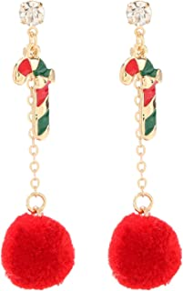 ALoveSoul 圣诞手杖耳环 - 链状毛球耳环合金珐琅工艺耳环 女式