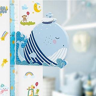 Horolas 婴儿成长高度图儿童墙贴 磁性 3D 可拆卸长颈鹿高度测量尺儿童房墙贴(鲸鱼)