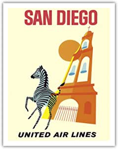 """太平洋岛艺术圣地亚哥,加利福尼亚州 - 斑马 - 圣地亚哥动物园 - 波尔沃公园 - 联海航空公司 - 复古航空旅行海报 1965 - 精美艺术印刷品 11"""" x 14"""" APB4492"""