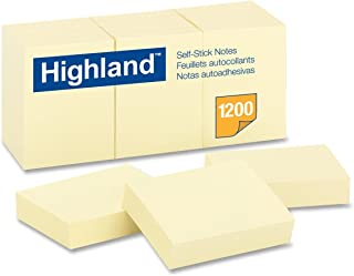 Highland 6539 自粘便条,1-3/8 英寸(约 3.8 厘米) x 1-7/8 英寸(约 4.4 厘米),黄色,每本 100 张 36 包 12 片