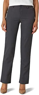 Lee Women's Misses Wrinkle Free Relaxed Fit Straight Leg Pant, Charcoal Heather, 12 Short