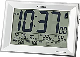 Rhythm Clock CITIZEN 收音机数字时钟,数位宽DL,白色,8RZ151-003