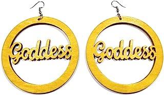 Teri's Boutique 女神皇后木雕刻圆形流行多色时尚珠宝吊坠耳环