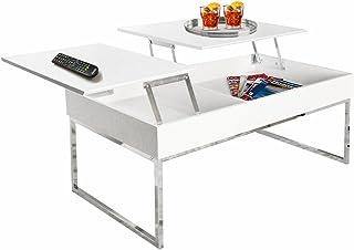 Esidra 9355 – 01 桌子,带铰链桌面,镀铬钢,白色,110 x 60 x 45 厘米