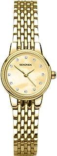SEKONDA 女式模拟经典石英手表不锈钢表带