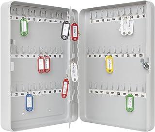 Wedo 10260837X 钥匙柜(适用于 110 个钥匙,粉末涂层钢板板,28 x 6 x 37 厘米,*锁,包括2 个钥匙)浅灰色