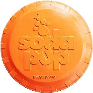 SodaPup 飞盘顶部 - 狗狗互动玩具 - 坚韧狗狗玩具 - 抓取玩具 - 强狗玩具 - 狗院玩具 - 橙色 - 大号