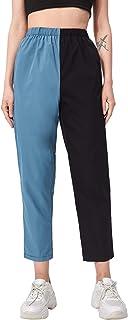 DIDK 女式高弹性腰长裤拼色直筒七分裤