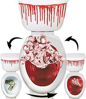 马桶座套 3D 恐怖渐变贴花万圣节主题派对家居装饰(僵尸手和美元和血)