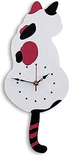 DDL 猫钟摆钟 可爱挂钟 (静音型) 白色 42×18(㎝)