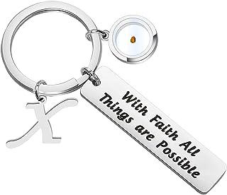 ENSIANTH 信仰芥末种子礼物带信仰首字母所有东西都可能可能的钥匙扣基督教励志礼物宗教首饰