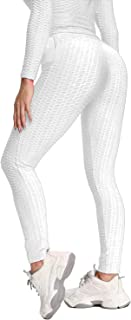 Msicyness TikTok 打底裤女式高腰瑜伽裤短裤卡普里提臀紧身裤带侧口袋纹理短靴紧身裤