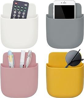 WWW 壁挂式遥控支架,自粘通用媒体存储盒,用于遥控、家庭学校办公室,手机充电(4 种颜色)