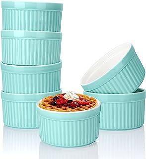 6 件装瓷制Souffle Dish 烘烤烤烤烤盘,6 盎司(约 170.1 克)蓝色Ramekins 烤盘套装烘焙杯,适用于奶油 Brulee 甜点布丁奶油冰淇淋熔岩蛋糕零食