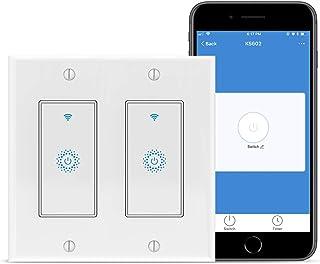 智能灯开关,2 个 Gang WiFi 灯开关,适用于 Alexa,KKCOOL WiFi 智能开关,兼容 Alexa,Google Assistant,Siri,2 个帮派或 2 件装